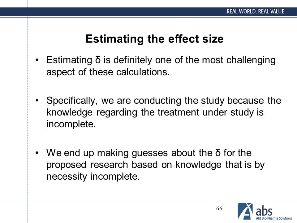 Estimating the effect size