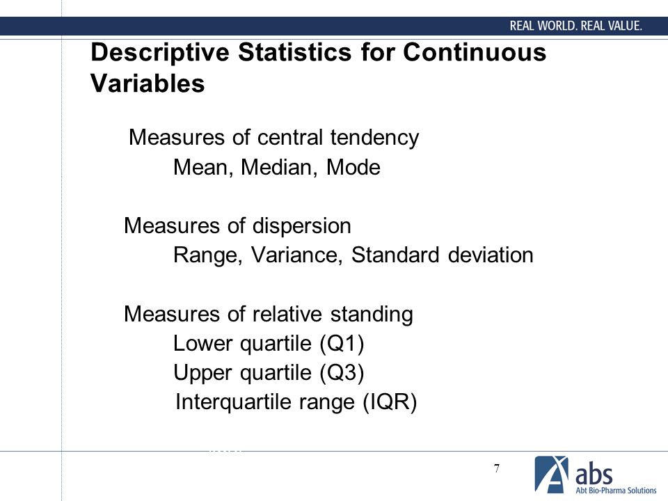 Descriptive Statistics for Continuous Variables