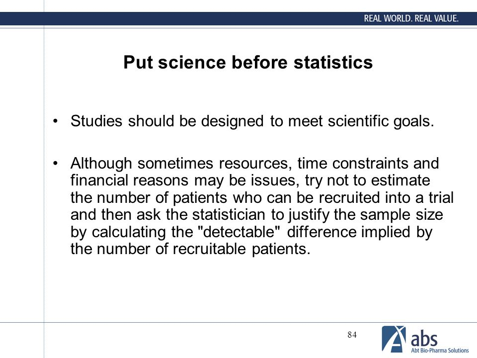 Put science before statistics