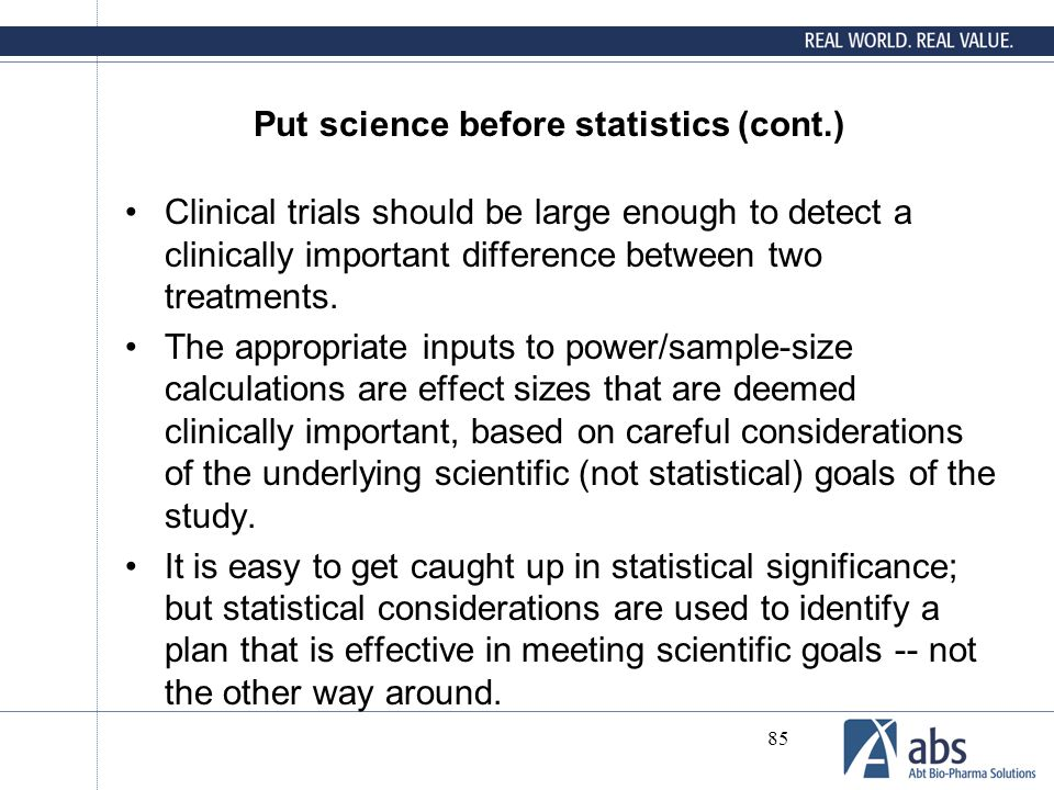 Put science before statistics (cont.)