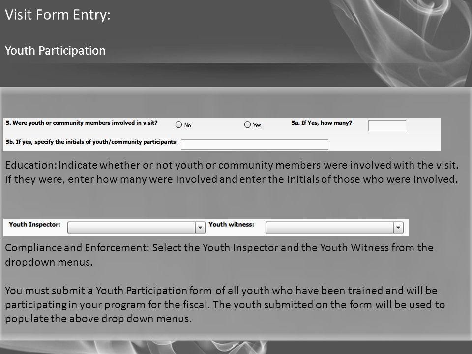 Visit Form Entry: Youth Participation