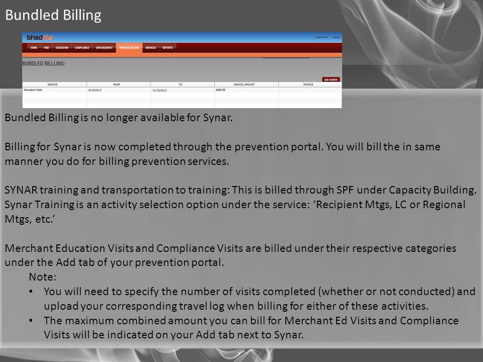 Bundled Billing Bundled Billing is no longer available for Synar.