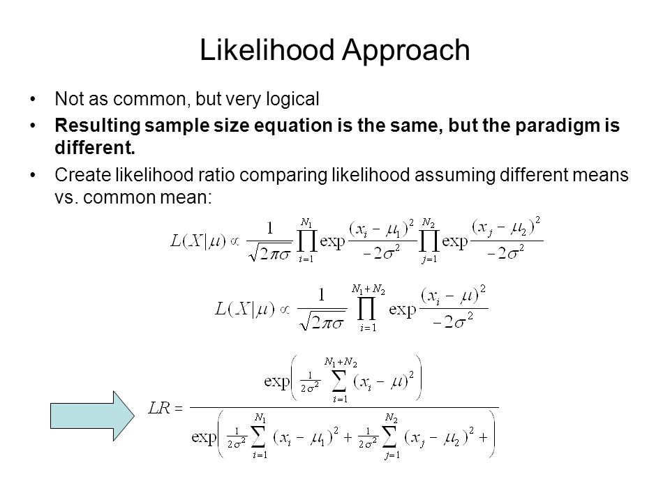 Likelihood Approach Not as common, but very logical