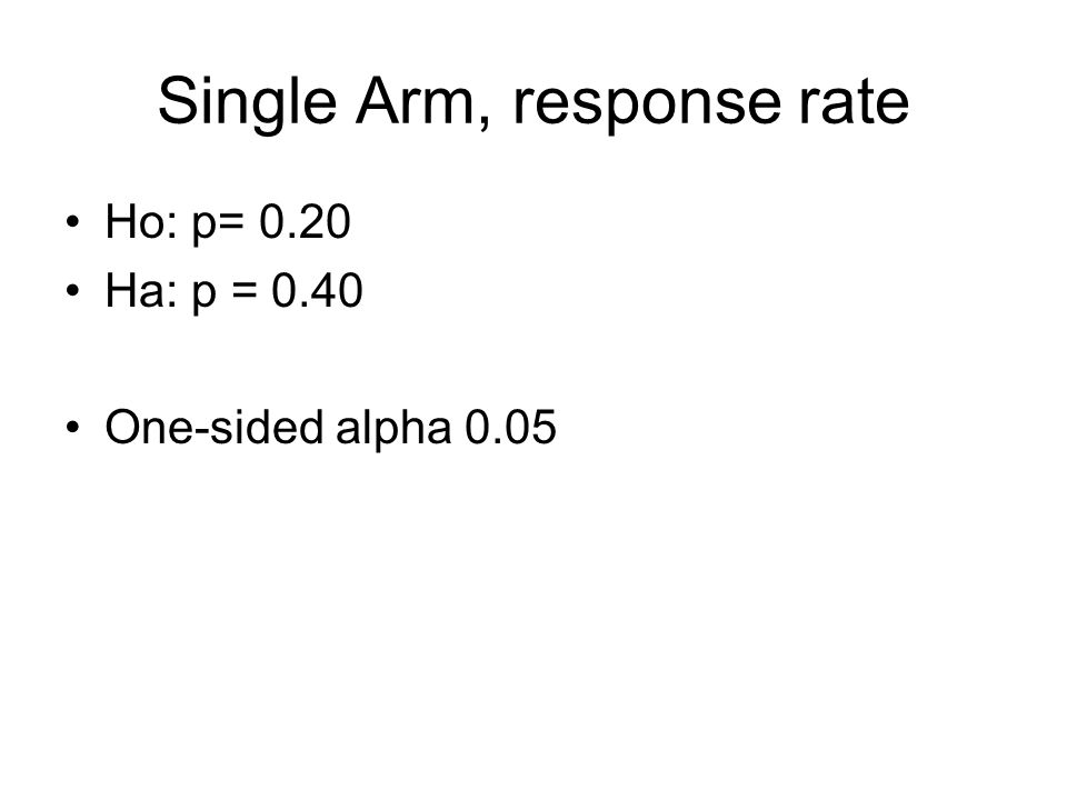 Single Arm, response rate