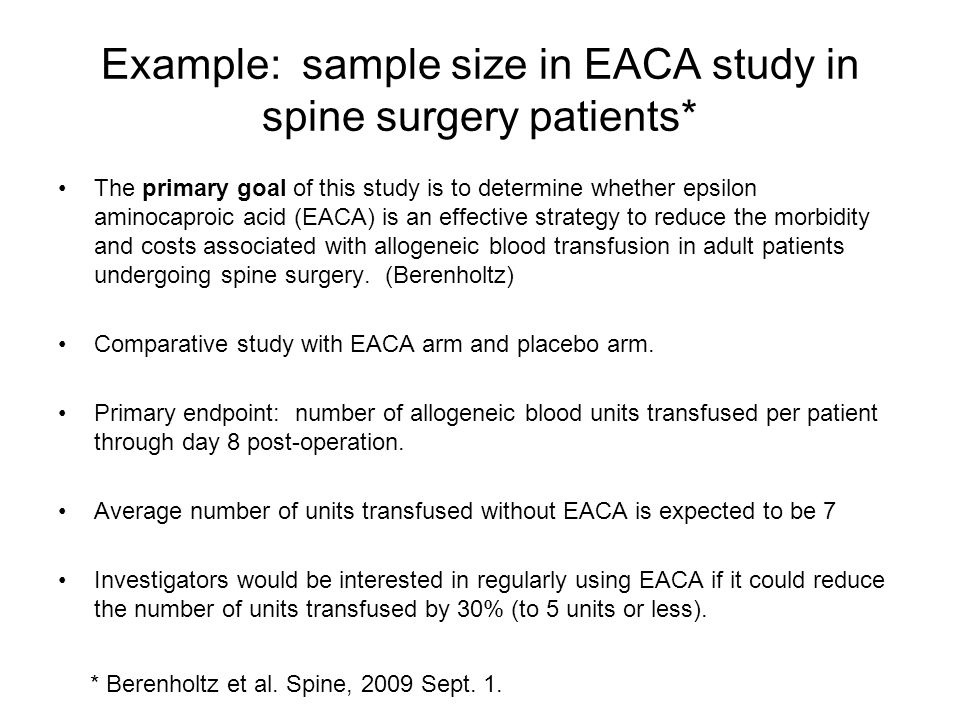 Example: sample size in EACA study in spine surgery patients*