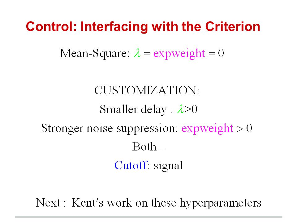 Control: Interfacing with the Criterion