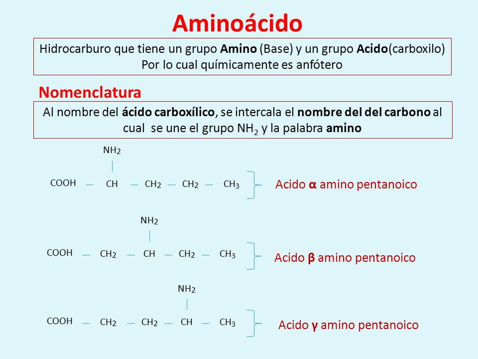 Aminoácido Nomenclatura COOH CH CH2 CH3 NH2 COOH CH2 CH CH3 NH2 COOH