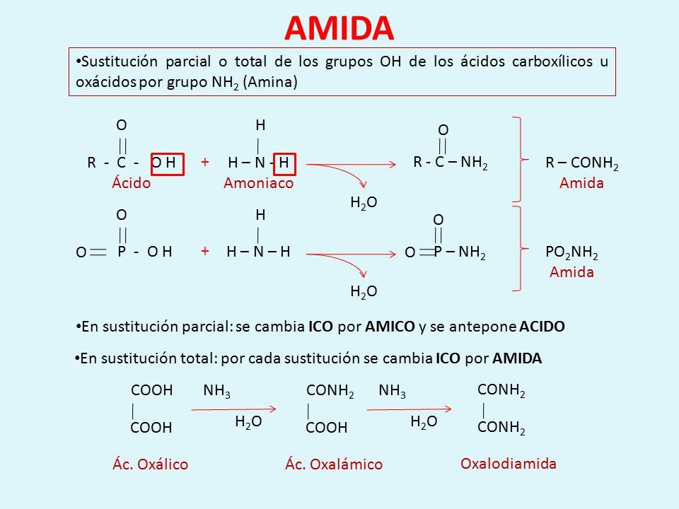 En sustitución total: por cada sustitución se cambia ICO por AMIDA