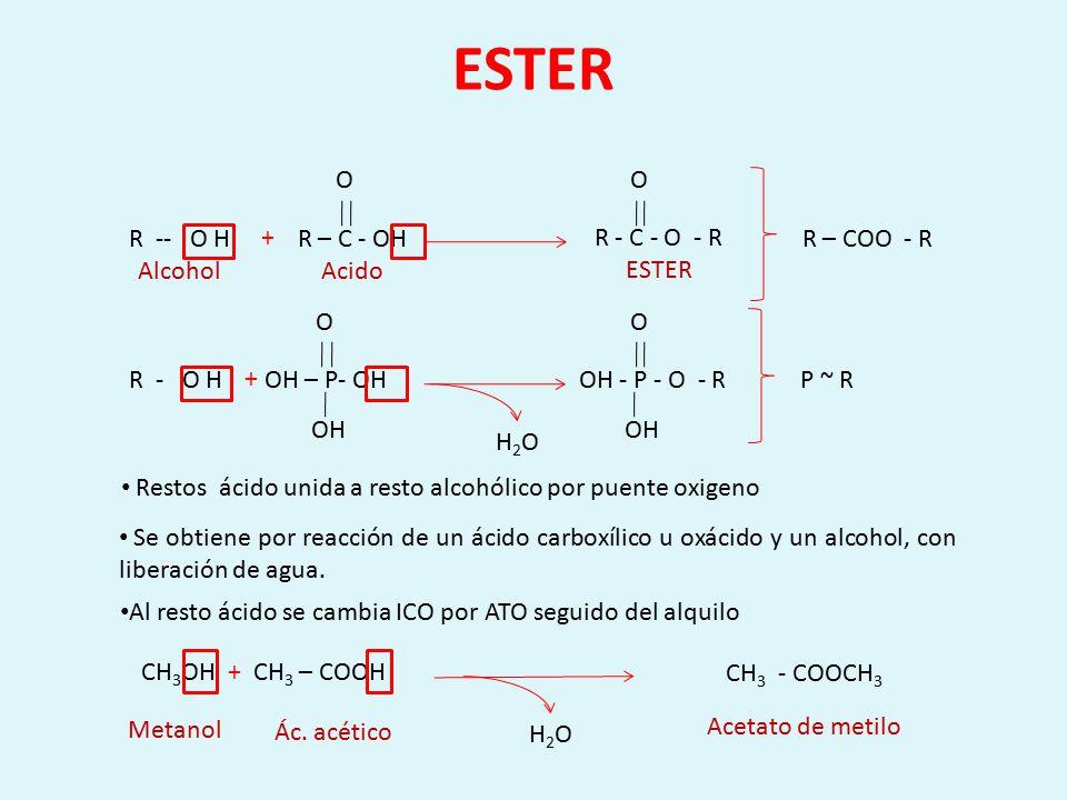 ESTER R – C - OH Acido O R - C - O - R ESTER O R -- O H Alcohol +