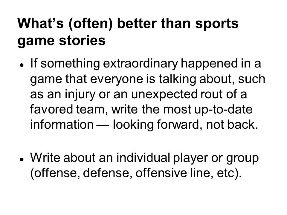 What's (often) better than sports game stories