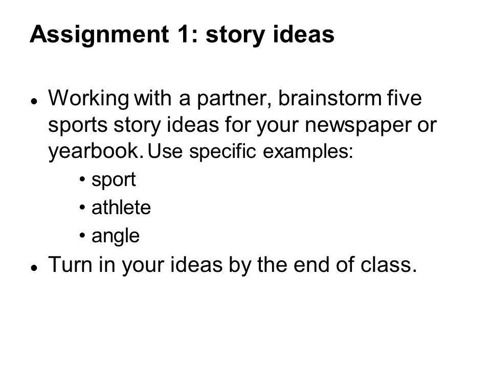 Assignment 1: story ideas