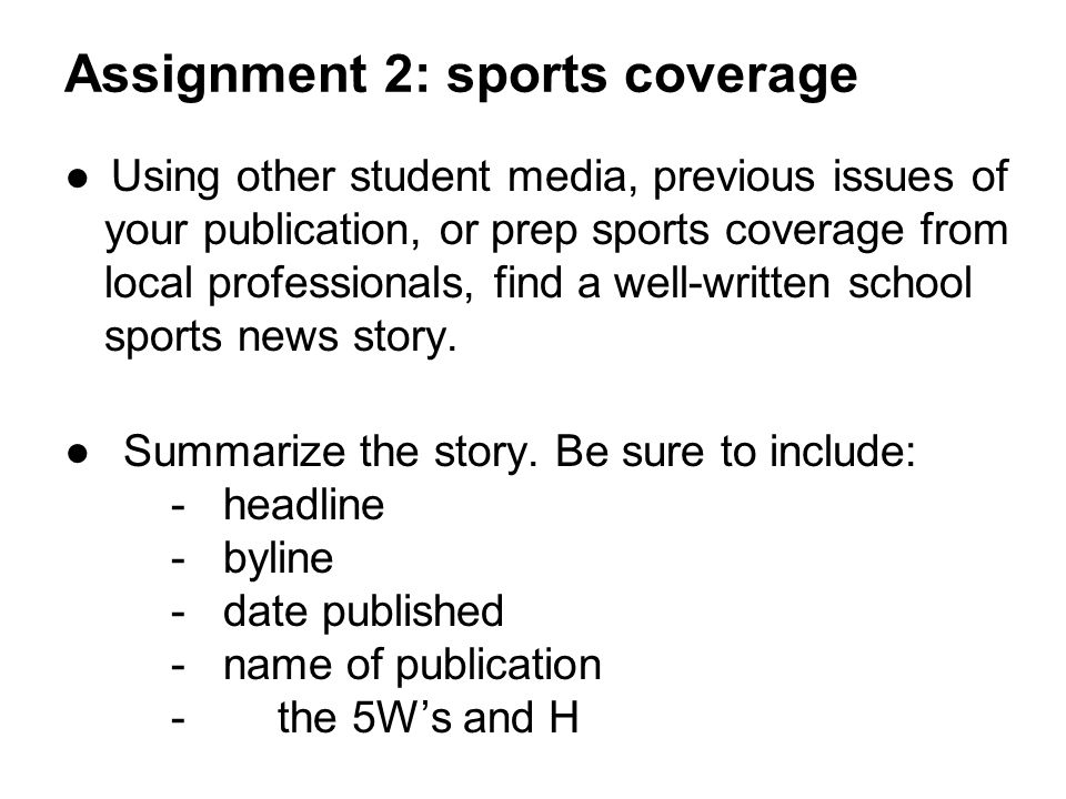 Assignment 2: sports coverage