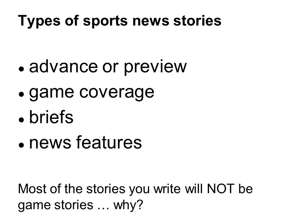 Types of sports news stories