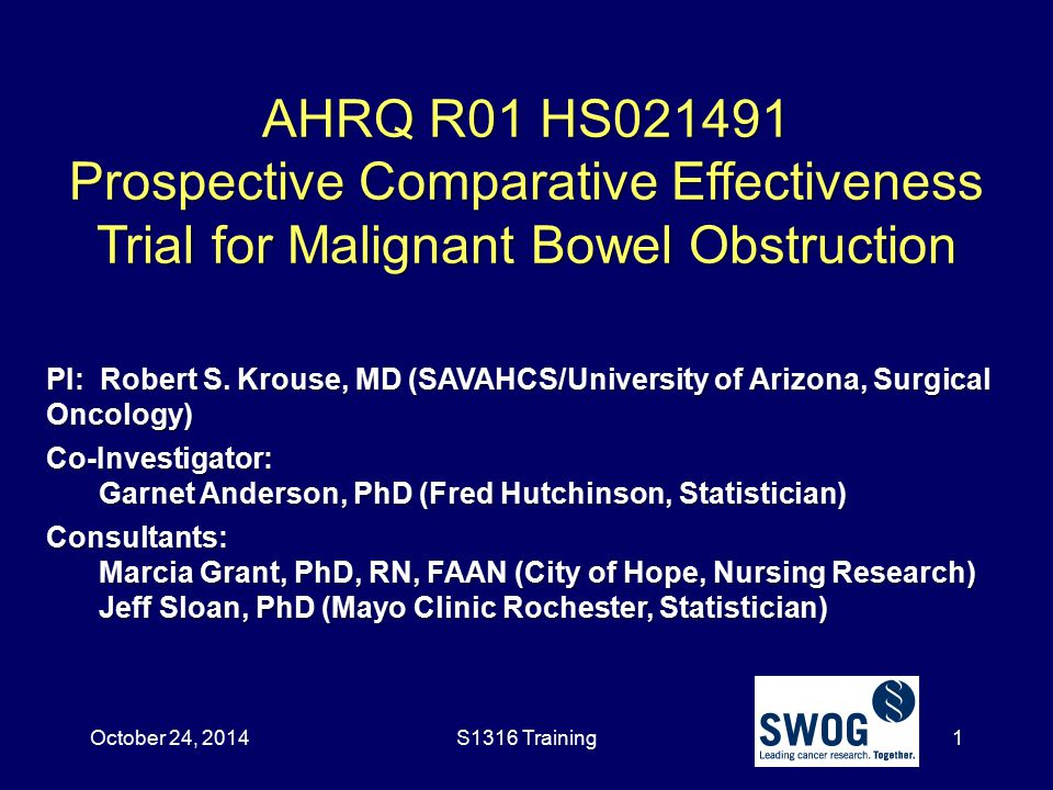 October 24, 2014 AHRQ R01 HS021491 Prospective Comparative Effectiveness Trial for Malignant Bowel Obstruction.