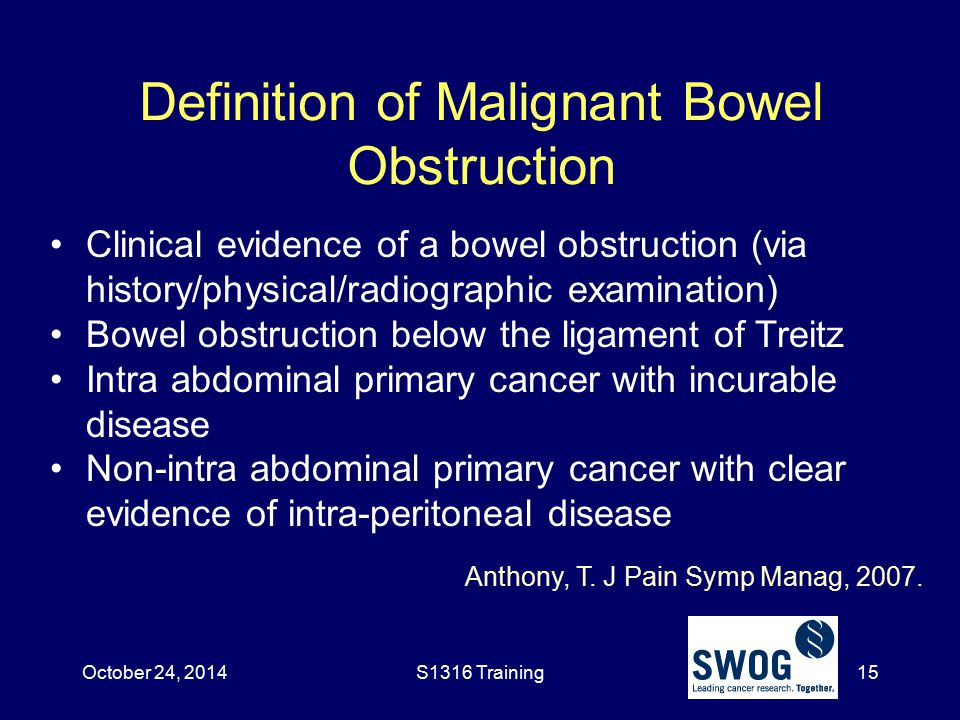 Definition of Malignant Bowel Obstruction