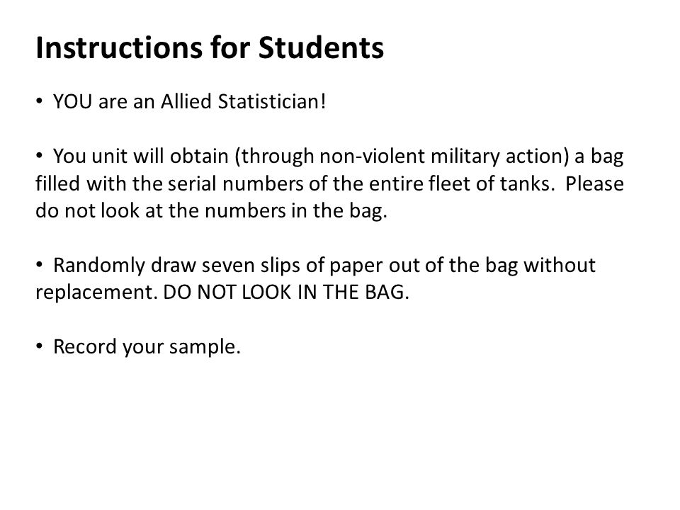 Instructions for Students