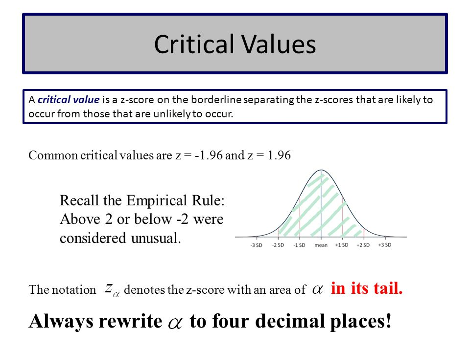 Critical Values Always rewrite to four decimal places!