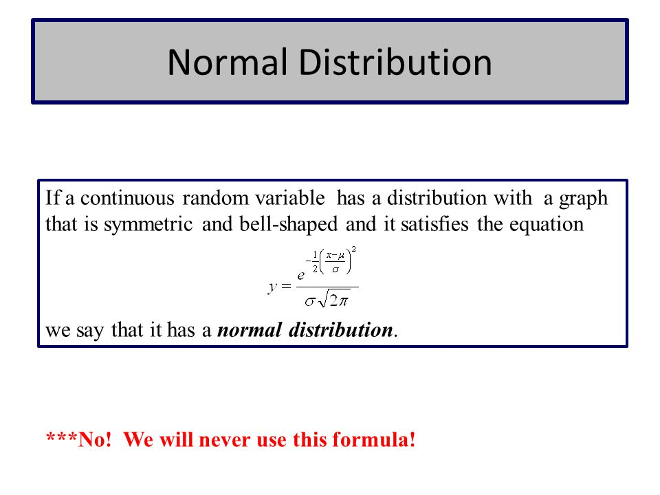 Normal Distribution If a continuous random variable has a distribution with a graph that is symmetric and bell-shaped and it satisfies the equation.
