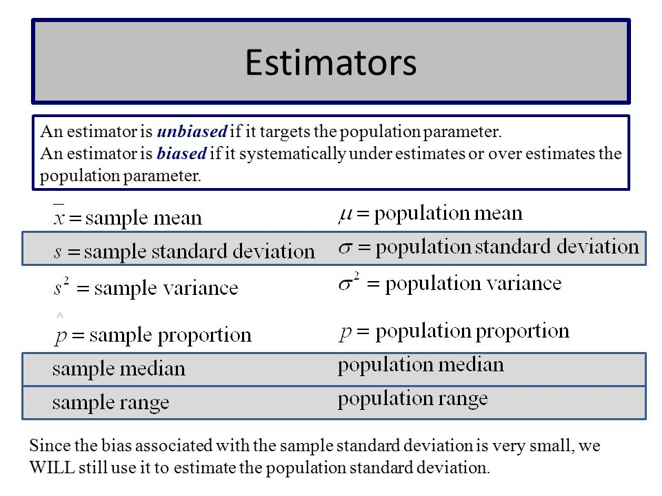 Estimators An estimator is unbiased if it targets the population parameter.