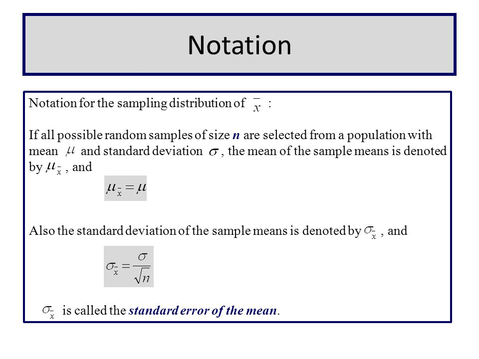 Notation Notation for the sampling distribution of :