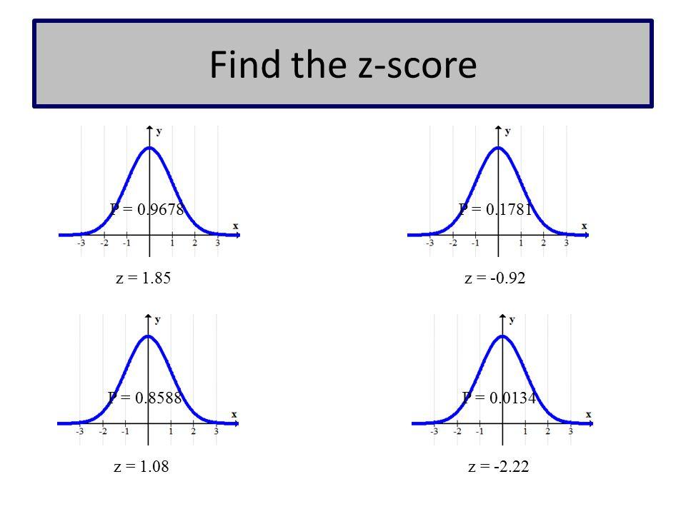 Find the z-score P = 0.9678 P = 0.1781 z = 1.85 z = -0.92 P = 0.8588