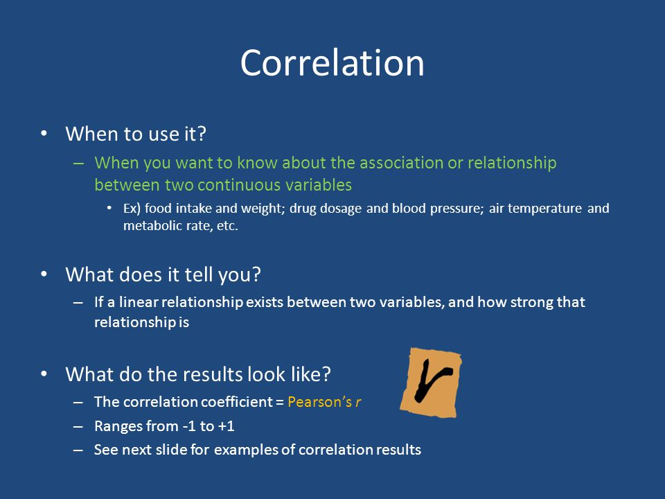 Correlation When to use it What does it tell you