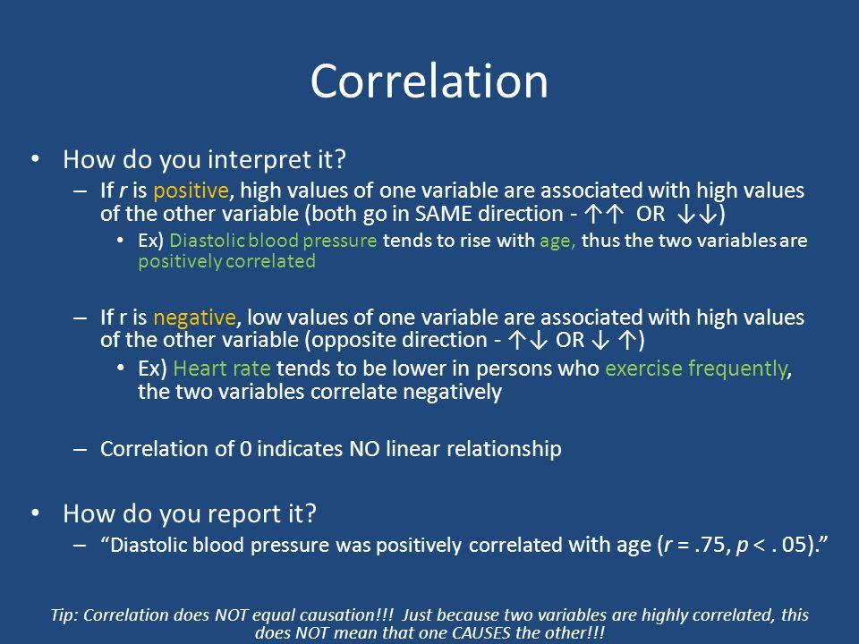 Correlation How do you interpret it How do you report it
