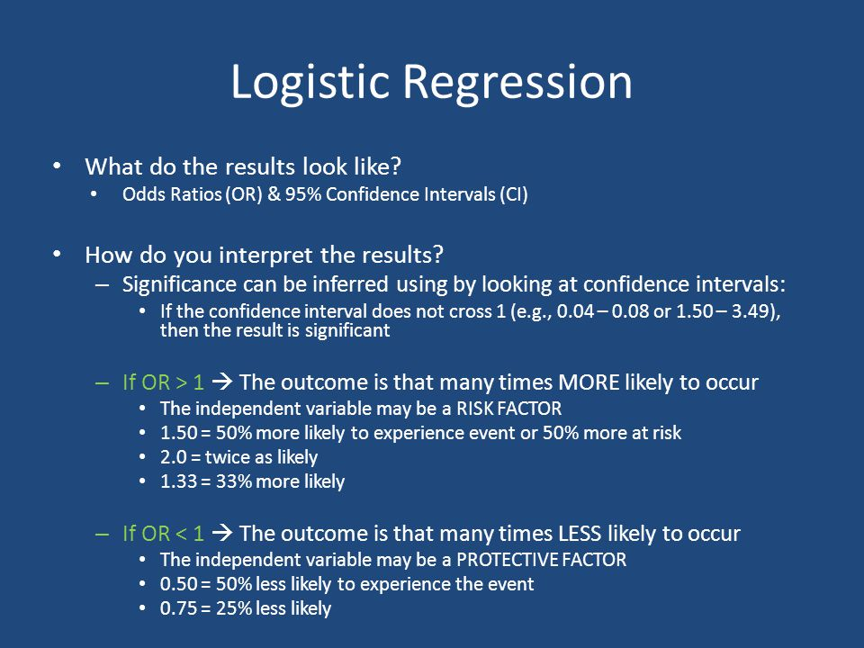 Logistic Regression What do the results look like