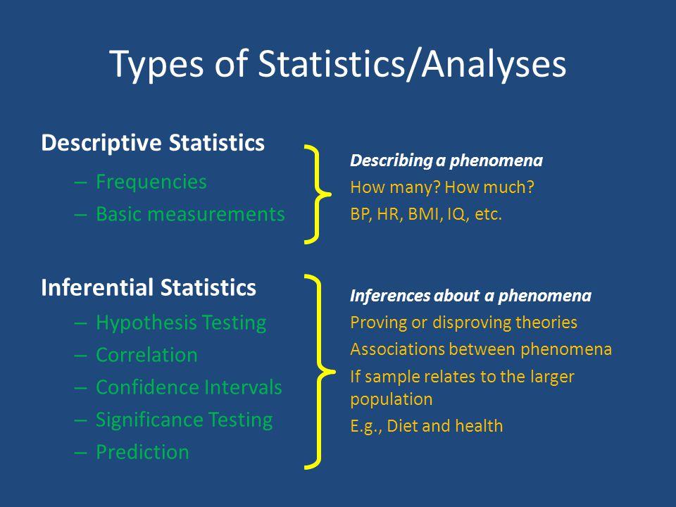 Types of Statistics/Analyses
