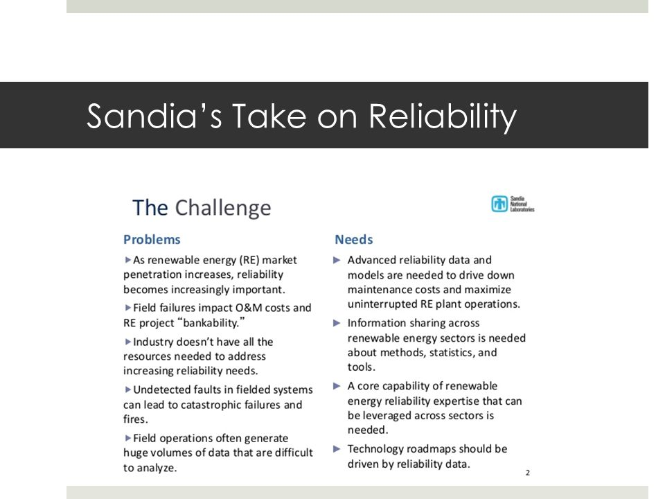 Sandia's Take on Reliability