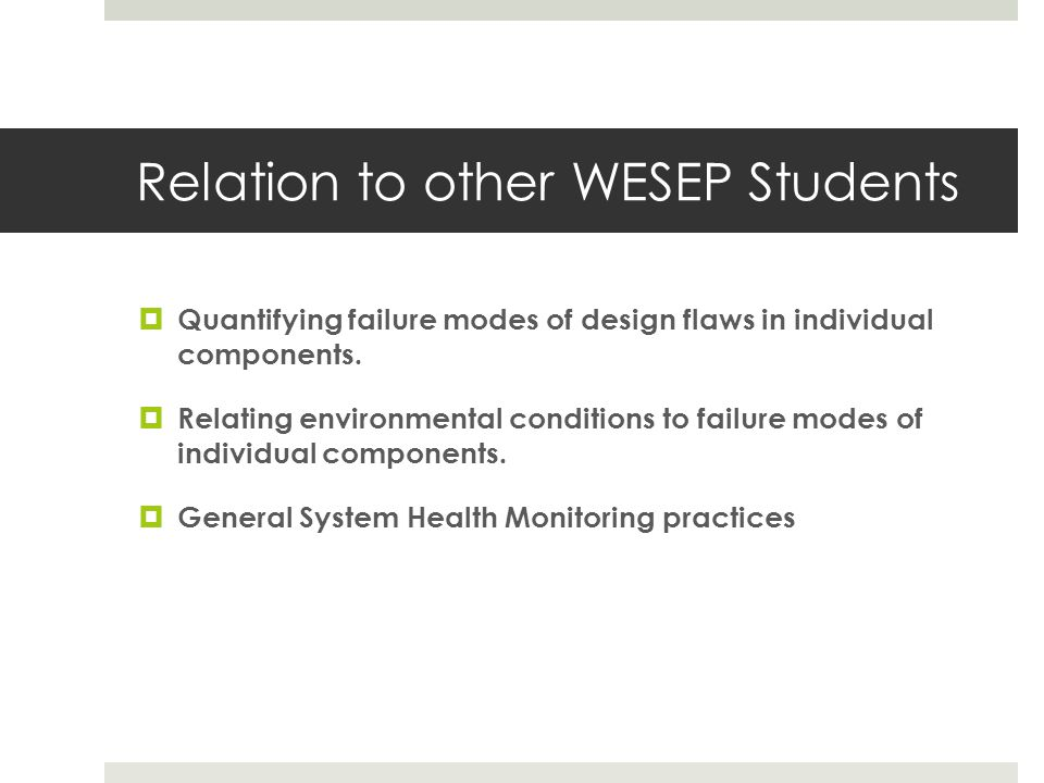 Relation to other WESEP Students
