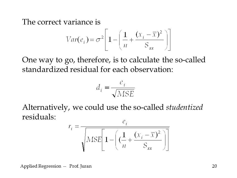 The correct variance is