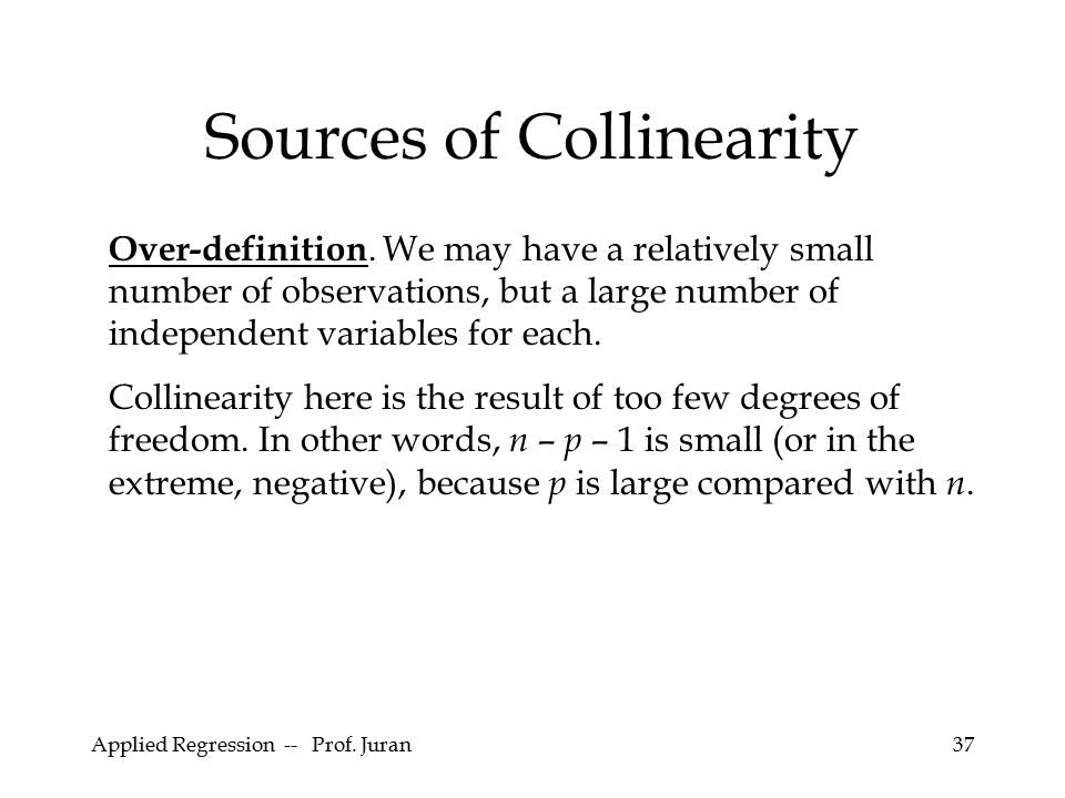 Sources of Collinearity