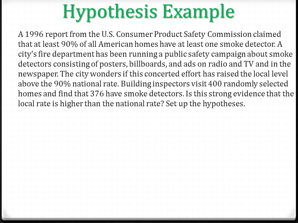 Hypothesis Example