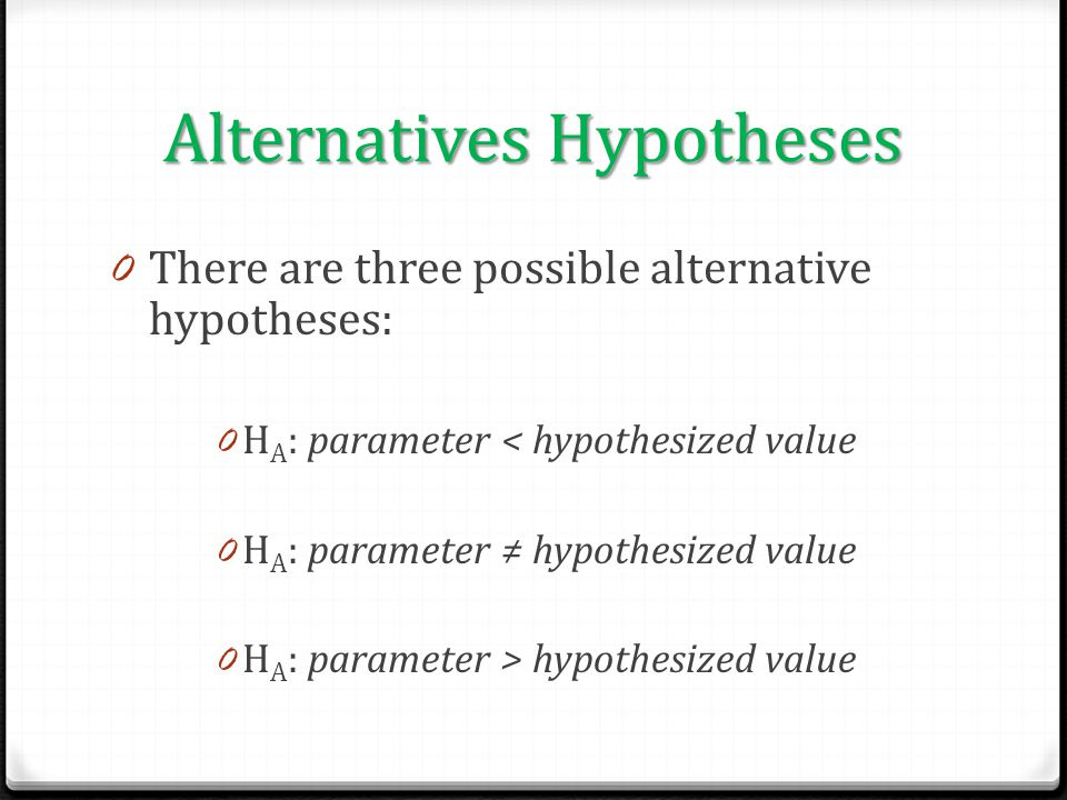Alternatives Hypotheses