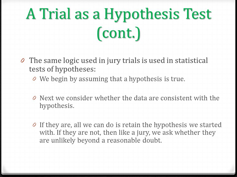 A Trial as a Hypothesis Test (cont.)