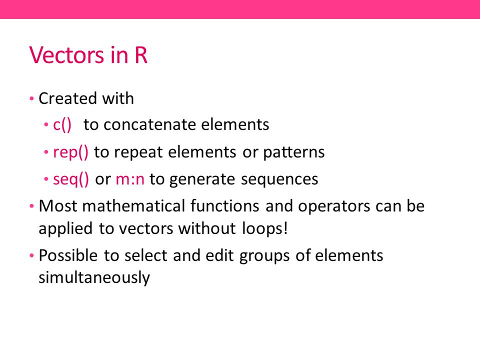 Vectors in R Created with c() to concatenate elements