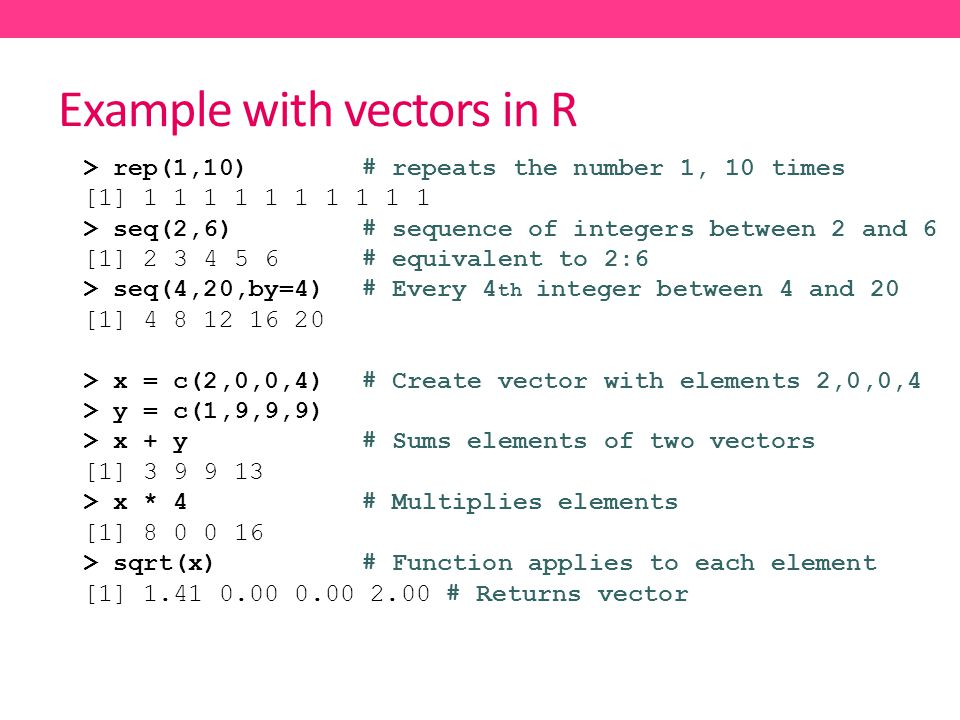 Example with vectors in R