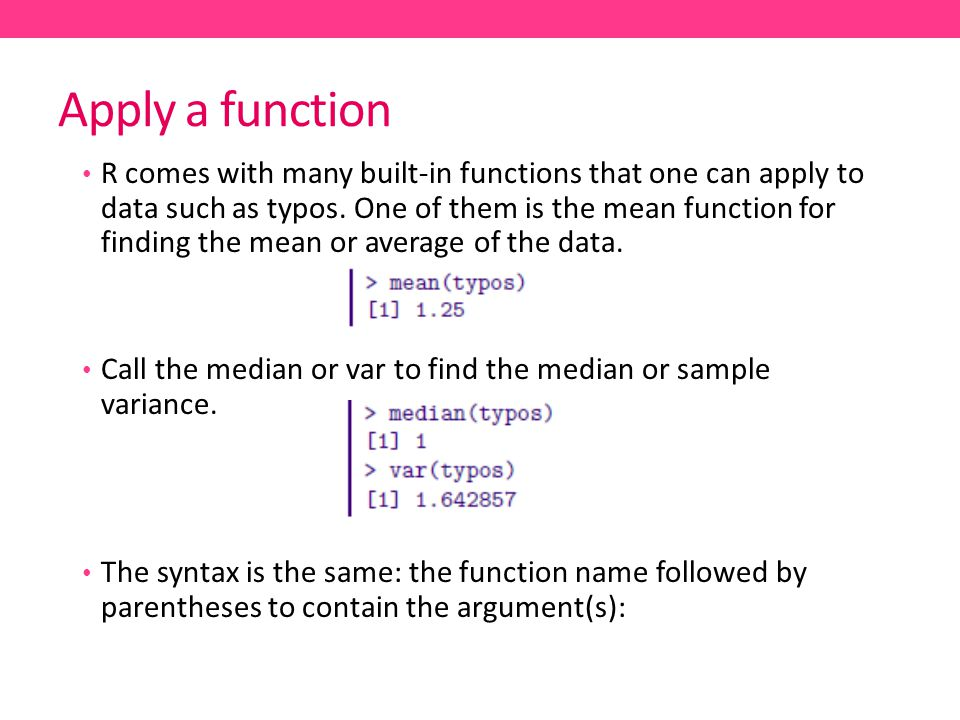 Apply a function