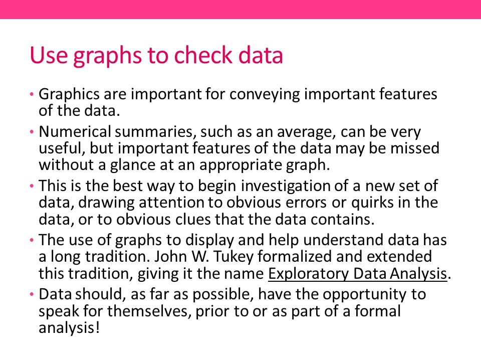 Use graphs to check data