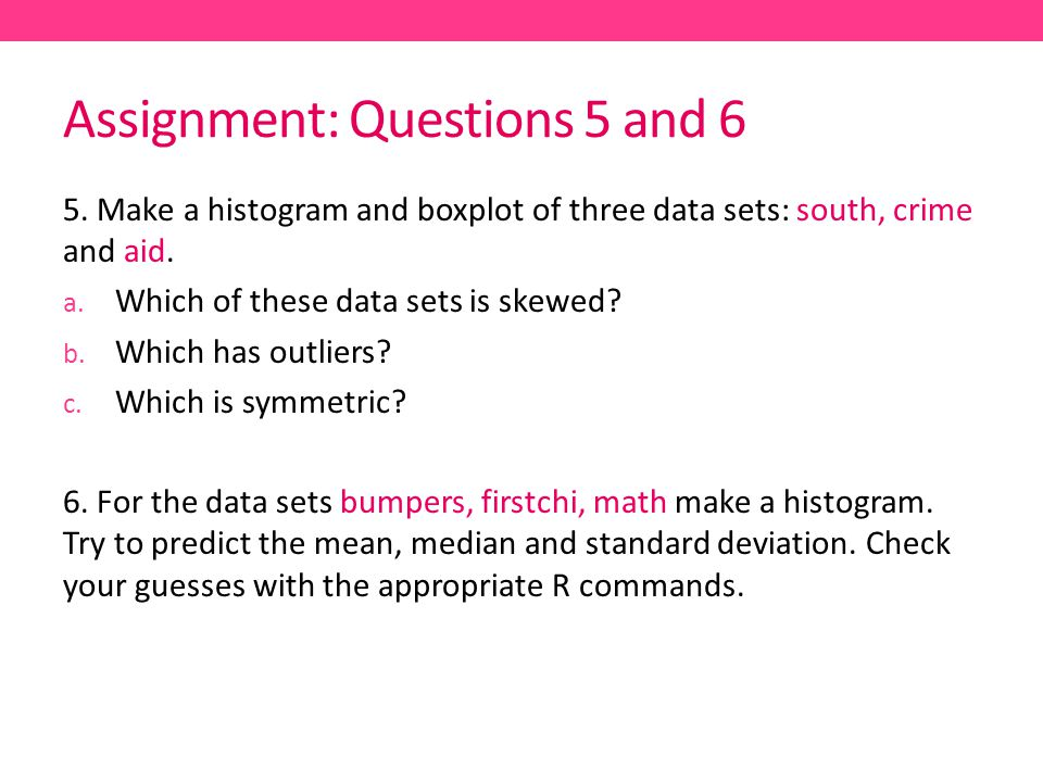 Assignment: Questions 5 and 6