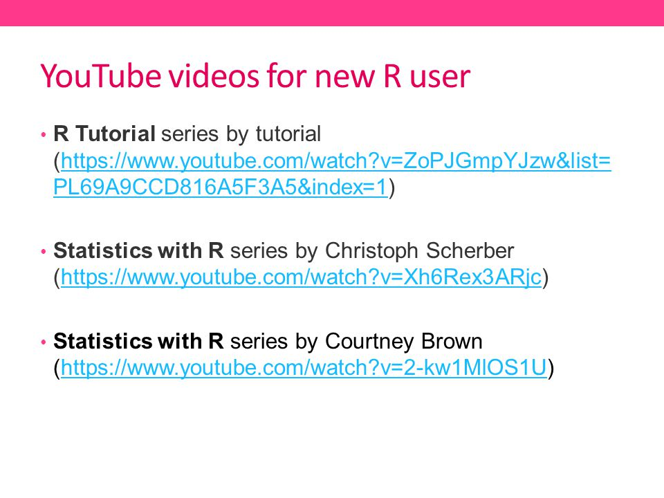 YouTube videos for new R user