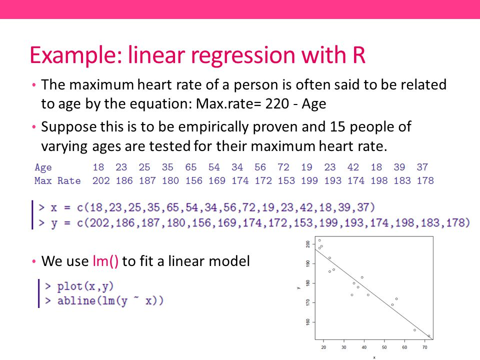 Example: linear regression with R