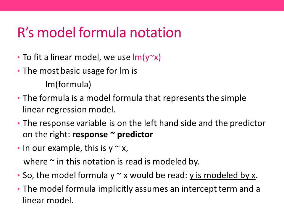 R's model formula notation