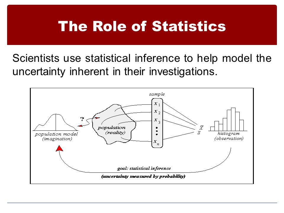 The Role of Statistics Scientists use statistical inference to help model the uncertainty inherent in their investigations.