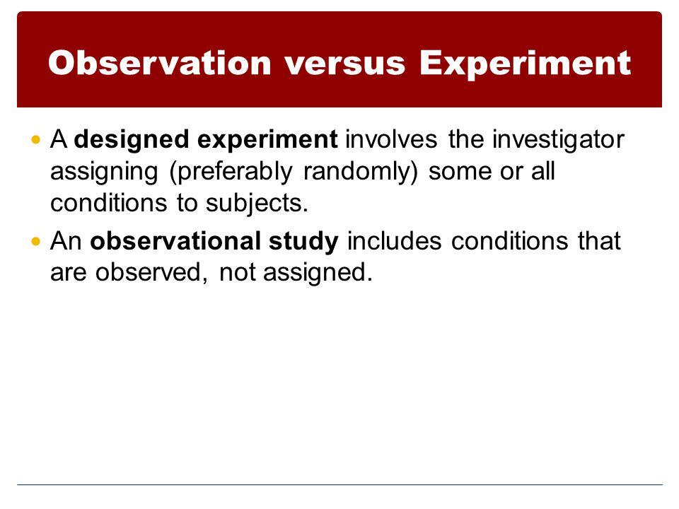 Observation versus Experiment