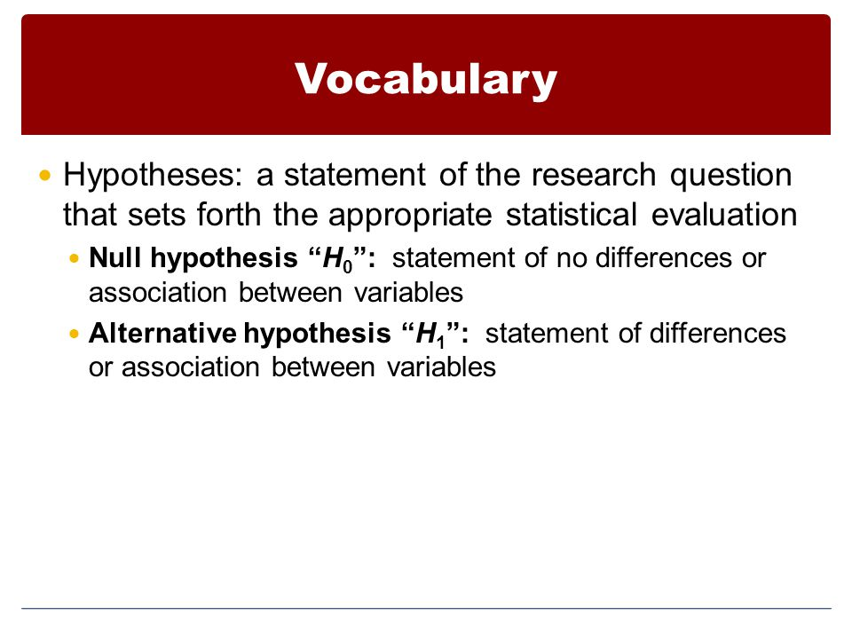 Vocabulary Hypotheses: a statement of the research question that sets forth the appropriate statistical evaluation.