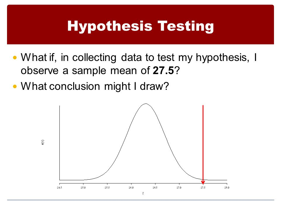 Hypothesis Testing What if, in collecting data to test my hypothesis, I observe a sample mean of 27.5