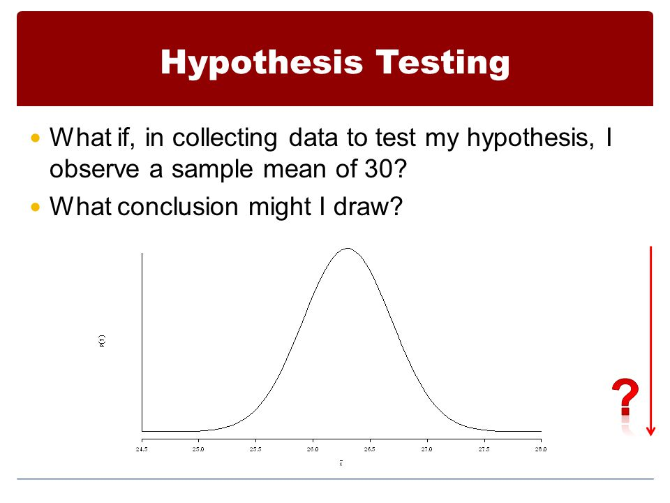 Hypothesis Testing What if, in collecting data to test my hypothesis, I observe a sample mean of 30