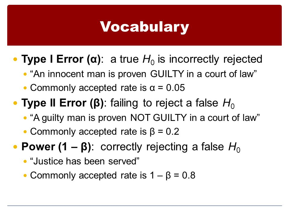 Vocabulary Type I Error (α): a true H0 is incorrectly rejected